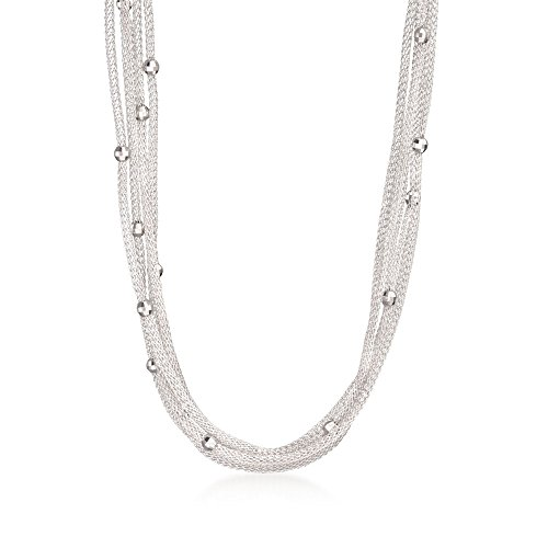 Ross-Simons Italian Sterling Silver Five-Strand Beaded Mesh Necklace