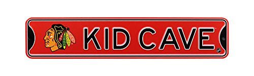 NHL Hockey Officially Licensed STEEL Kid Cave Sign-Decor for sports fan bed room! (Chicago Blackhawks) ()