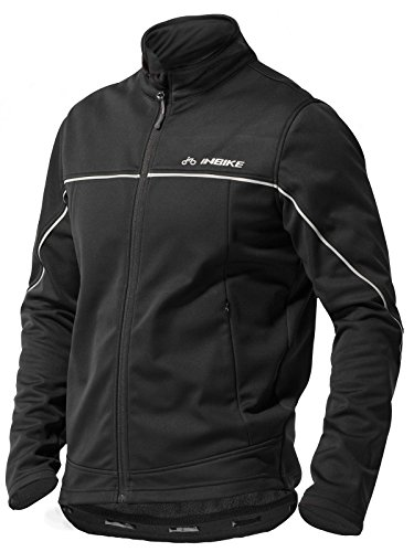 - INBIKE Men's Cycling Jacket, Winter Fleece Thermal Windproof Soft Shell Wind Coat Black Medium