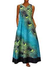 NIUQI Womens Dresses Summer Casual Color Block Sleeveless Dress with Pockets Bohemian Tank Beach Sundress