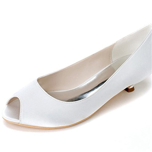 Clearbridal Women's Pointed Toe Satin Wedding Shoes and Prom Shoes ZXF0700-01 Ivory lxW8yU