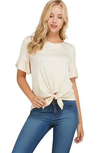Annabelle Women's Solid Front Tie Twist Bell Sleeve Plus Size Tee Shirt Cream XX-Large T1200P