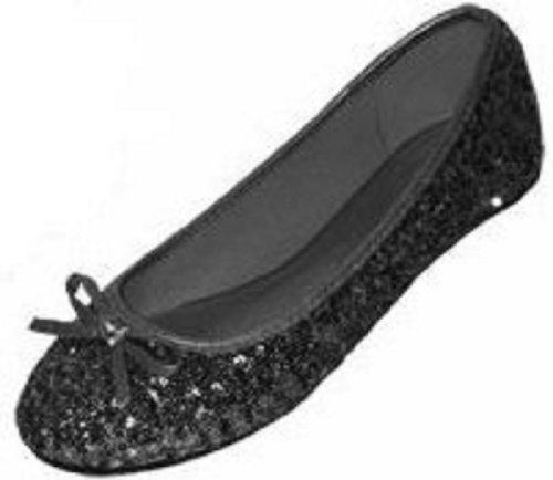 Black Sequin Flat - 2
