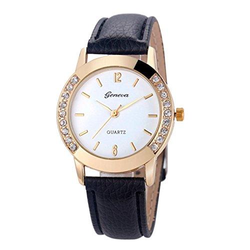 Geneve Gold Pocket Watch - Geneva Fashion Women Diamond Analog Leather Quartz Wrist Watch Watches by Rakkiss (Black)