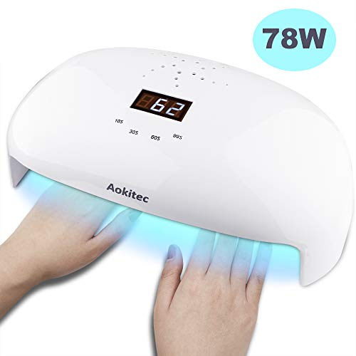 Aokitec UV LED Nail Lamp 78W Professional Nail Dryer for All Gels Fits Both Hands or Feet with 4 Timer, Sensor, LCD Display, 56 Beads Gel Curing Lamp (Uv Lamp Or Led Lamp For Gel Nails)