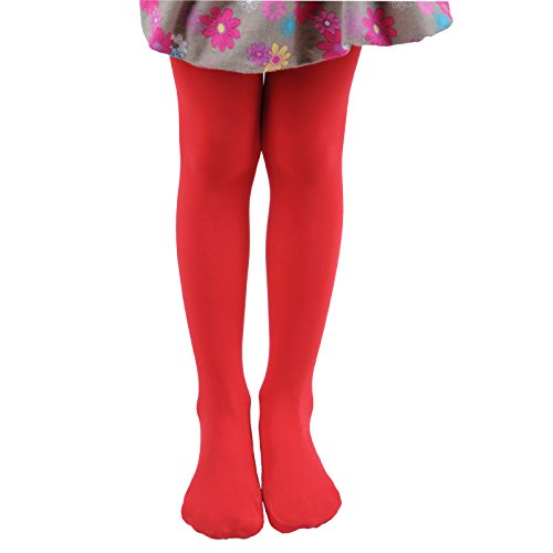 Leg Elegant Girls Microfiber Soft Opaque Solid Colored Footed Tights (5-7, Red)