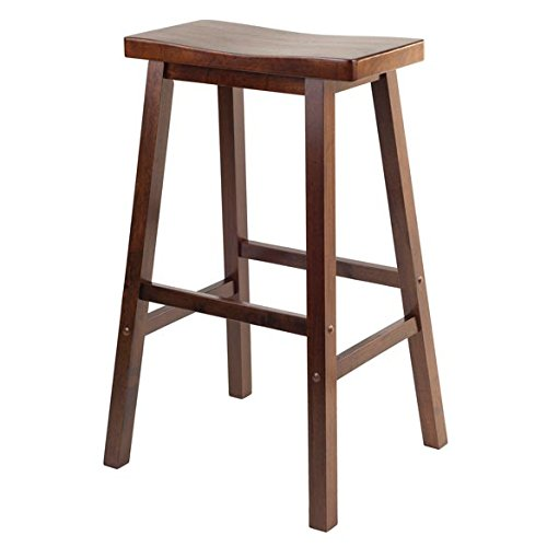 Winsome Wood 29 Inch Saddle Seat Stool, Walnut