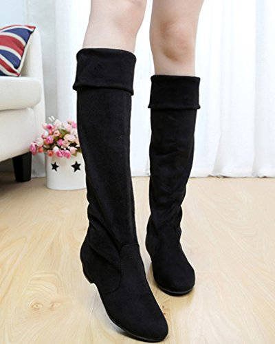 Botas Minetom Boots Botas Plano Zapatos Otoño Sencillo Cálido Talón Moda Negro Mujer Invierno Largas qwZzq4U