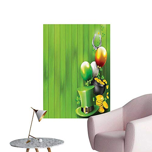 """Modern Painting Wood with Shamrock Lucky Clovers Pot of Gold Coins and Horse Shoe Home Decoration,20""""W x 32""""L"""