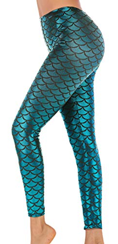 Sexy Fish Scale Mermaid Printed Leggings Skinny Pants