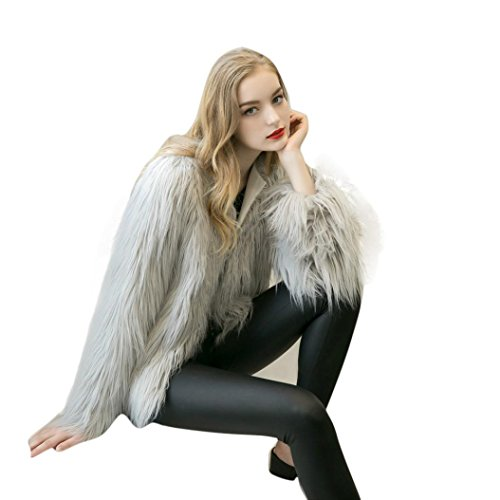 Invierno Abrigo Parka Mujer de para Abrigo Piel de Gris para Fox Sintética KaloryWee Cálida Mujer Svpw4q
