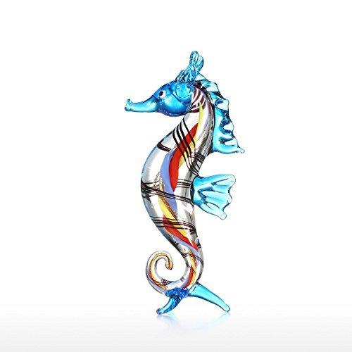 Tooarts Mini Seahorse Sea Glass Sculpture Wild Life Figurine Handmade Craft Hand Blown Glass Art Home Decor Gift ()
