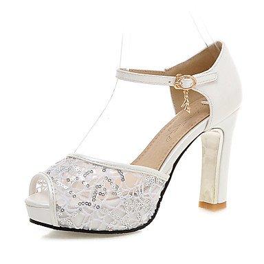 Sandalias Primavera Verano Otoño Zapatos Club Tulle Oficina & Carrera parte & traje de noche Chunky talón Sequin Negro Blanco Rosa Azul White