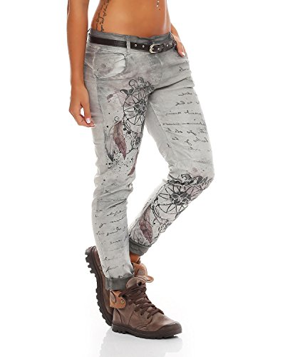 Ladies Jeans Pants Stretch fantasy Baggy stampa 10912 Jeggings Chinos Zarmexx Grigio Letter Boyfriend dxqIwptACC