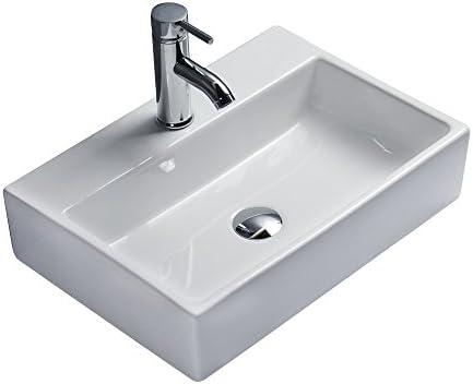 vidaXL Lavabo Carr/é /à Trou Robinet C/éramique Blanc Toilette Lave-Mains Vasque