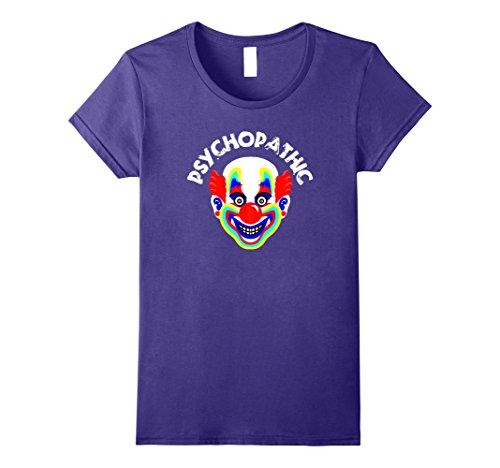 Womens Psychopathic Clown Horror Circus Creepy Clowns Funny TShirt Large Purple