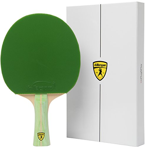 Killerspin JET200 Lime Ping Pong Racket - Beginner Table Tennis Racket| 5 Layer Wood Blade, Jet Basic Rubbers, Flared Handle| Practice Quality Ping Pong Racket| Memory Book Gift Box Storage Case