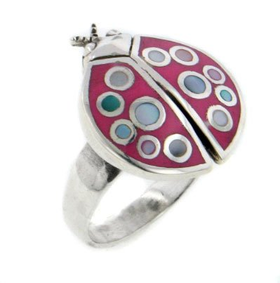Pink Enameled Polka Dot Shell Ladybug Sterling Silver Ring Size 8(Sizes 6,7,8,9,10) (Shell Ring Pink)