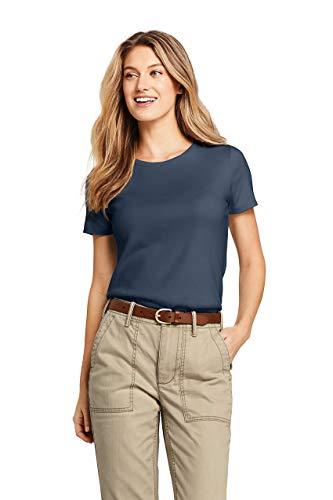 Lands' End Women's Shaped Cotton Crewneck T-shirt - Neck Crew Tee Solid