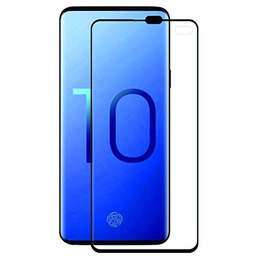 Starred Adhesive Tempered Glass Screen Protector for Samsung Galaxy S10+ (Plus), 9H 3D Curved [Case-Friendly] HD Clear Glass ()