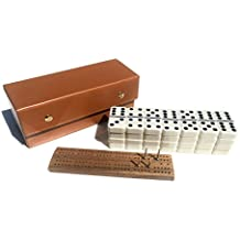 Alex Cramer #450 Travel Domino Set With Caramel-Colored Leather Case - Professional Tournament Domino Set - 28 Indestructible Double-Six Dominoes (Domino Set)