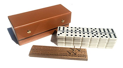 Travel Domino Set With Caramel-Colored Leather Case - Professional Tournament Domino Set - 28 Indestructible Double-Six Dominoes