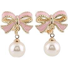 Grace Jun Pink Bowknot Shape Clip on Earrings Without Piercing for Women Pearl Drop Earrings