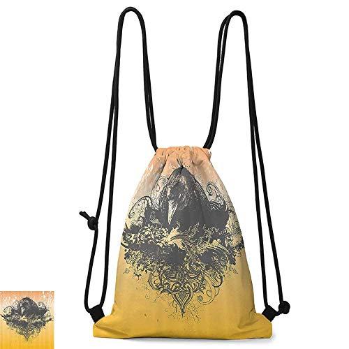 traveling backpack Black Decor Halloween Theme Vector Illustration of a Wicked Crow and Flowers Print W14