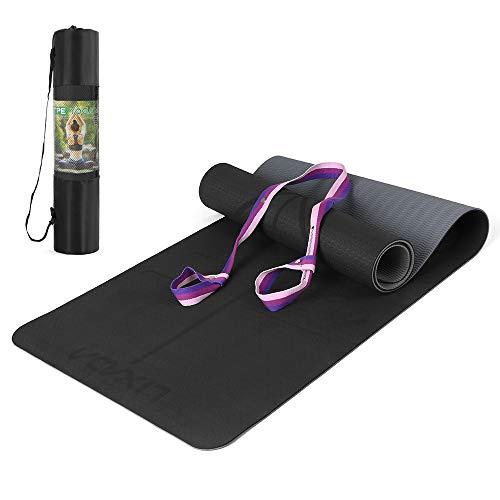 Lixada Yoga Mat TPE Pilates Mat Antislip Oefenmat Met Body Alignment Lines Draagriem Voor Vloer Workout Fitness Hot Yoga…