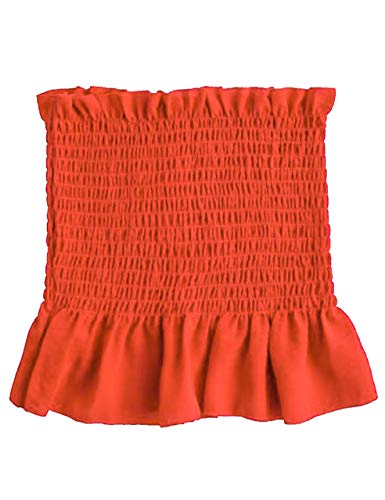 KAMISSY Women's Frill Smoked Crop Tank Top Bandeau Tube Top Vest (Small, Orange)