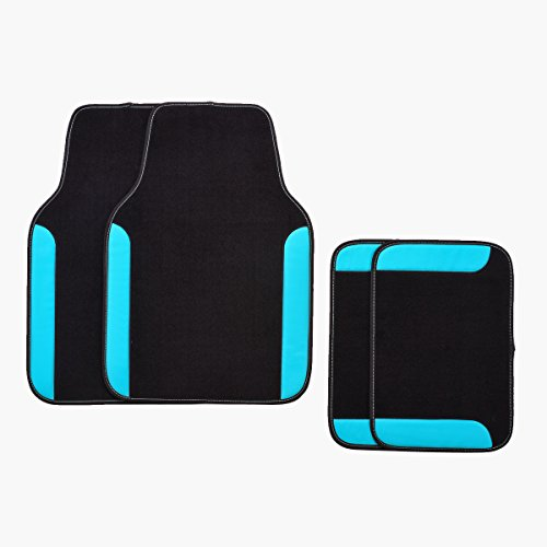 CAR PASS NEW ARRIVAL RAINBOW WATERPROOF UNIVERSAL CAR FLOOR MATS (Black With Light ()