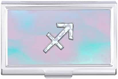 Sagittarius Zodiac Symbol Mother of Pearl Style Card Holder Case