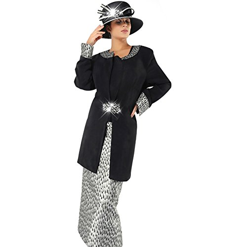 Kueeni Women Church Suits with Hats Special Occasion Wedding Party Ladies Formal Church Clothes ()