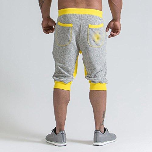 Homme Court Ete Gym Jaune Séchage Jogging De Rapide Short Pantalons Serrage Tennis Fitness Chenyang Cordon Sport d4nSdq