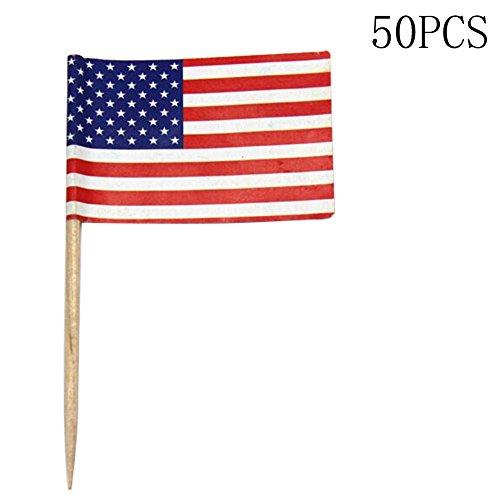 RoseSummer 50pcs Party American USA Flag Cocktail Cupcake Food Picks Sticks Cake Decoration (American Flag Cupcake Picks)