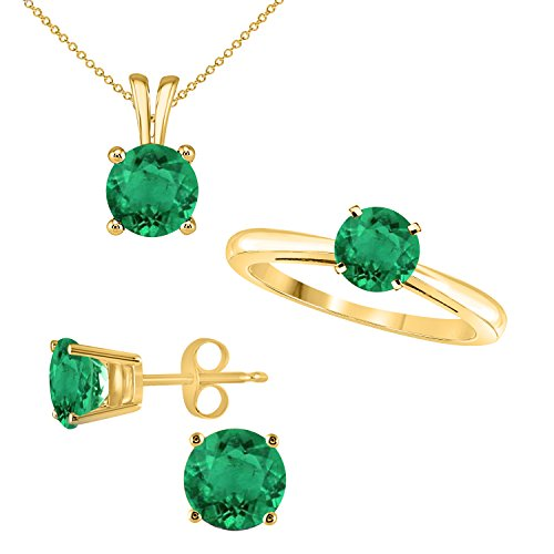 (Round Shape Brilliant Cut Lab Created Green Emerald Pendant Earring & Ring Set in 14K Yellow Gold Over)