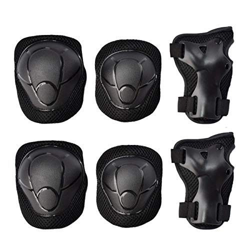 GOBEST Kids Protective Gear Set, Child Knee Pads Elbow Pads with Wrist Guards 3 in 1 for Boys and Girls Cycling Inline Roller Skating Biking Pack of 6 Black (Upgraded Vistion 3.0)