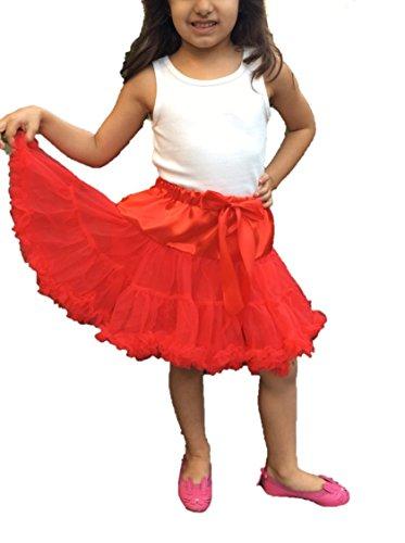 Kids Girls Ballerina Petticoat Layers Tutu Fluffy Skirt Ballet Fancy Dress Dance Party (Red, L - (8-10 Years))