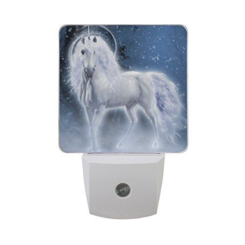 JOYPRINT Led Night Light Fantasy Animal Unicorn White, Auto Senor Dusk to Dawn Night Light Plug in for Kids Baby Girls Boys Adults Room by JOYPRINT