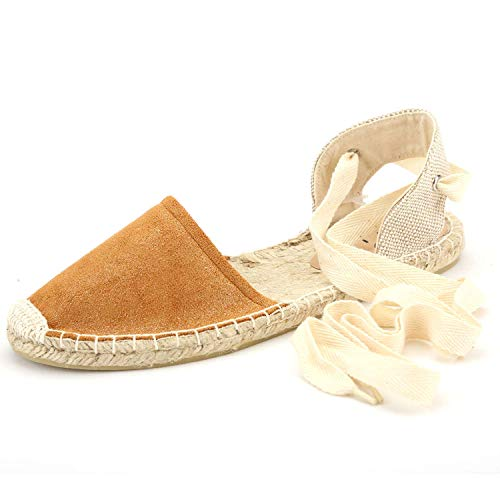 diig Espadrille Sandals for Women, Lace Up Closed Toe Espadrilles Silver Brown Navy Light/Rose Gold Tie Up Flat Shoes (04-9-3 / Brown, US-8) ()