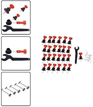 RedKids 25St/ück Fliesen Nivelliersystem Level Wiederverwendbar Fliesen Verlegehilfe Fliesenkeile Kunststoff Bodenbelag Fliesen Handwerkzeuge,24 levelers und einen professionellen Schl/üssel