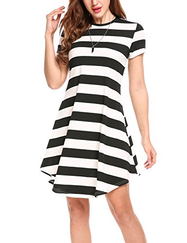SE MIU Women's Classic Striped Short Sleeve Casual Midi Dresses Black (Black And White Horizontal And Vertical Stripes)