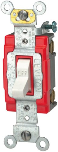 20a Switch (Leviton 1221-2W 20-Amp, 120/277-Volt, Toggle Single-Pole AC Quiet Switch, Extra Heavy Duty Spec Grade, Self Grounding, White)