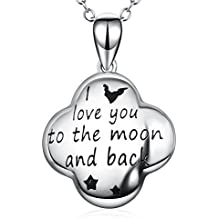 """Angel caller I Love You to the Moon and Back Engraved Charm Tiny Women Fashion Necklace Jewelry 18"""""""
