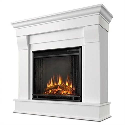 Real Flame Chateau Electric Fireplace in White, Small,