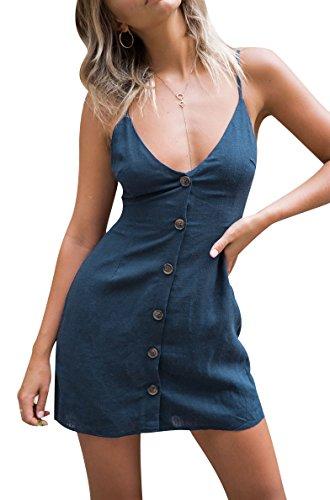 Vestidos de Verano Cortos Mujer Vestido de Diario Cuello en V Botón Corto Casuales Mini Vestidos Playeros sin Mangas Diarios Sueltos Señora Vestido Playero Bonitos Chulos Fiesta Coctel Elegantes Azul