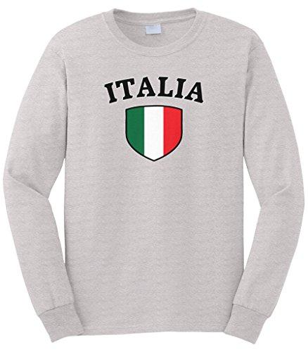 - Cybertela Men's Italia Flag Crest Shield Long Sleeve T-Shirt (Light Gray, 3X-Large)