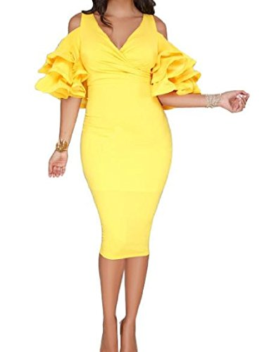 Coolred Party V Evening Silm Dress Yellow High Waisted Women Flouncing Neck rqfprw