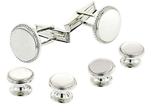 Classic Round Beaded Edge Silver Plated Tuxedo Studs and Cufflinks Set - Edge Round Cufflinks