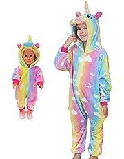 Girls Unicorn Pajamas Onesie Costume with Matching Doll Pajamas